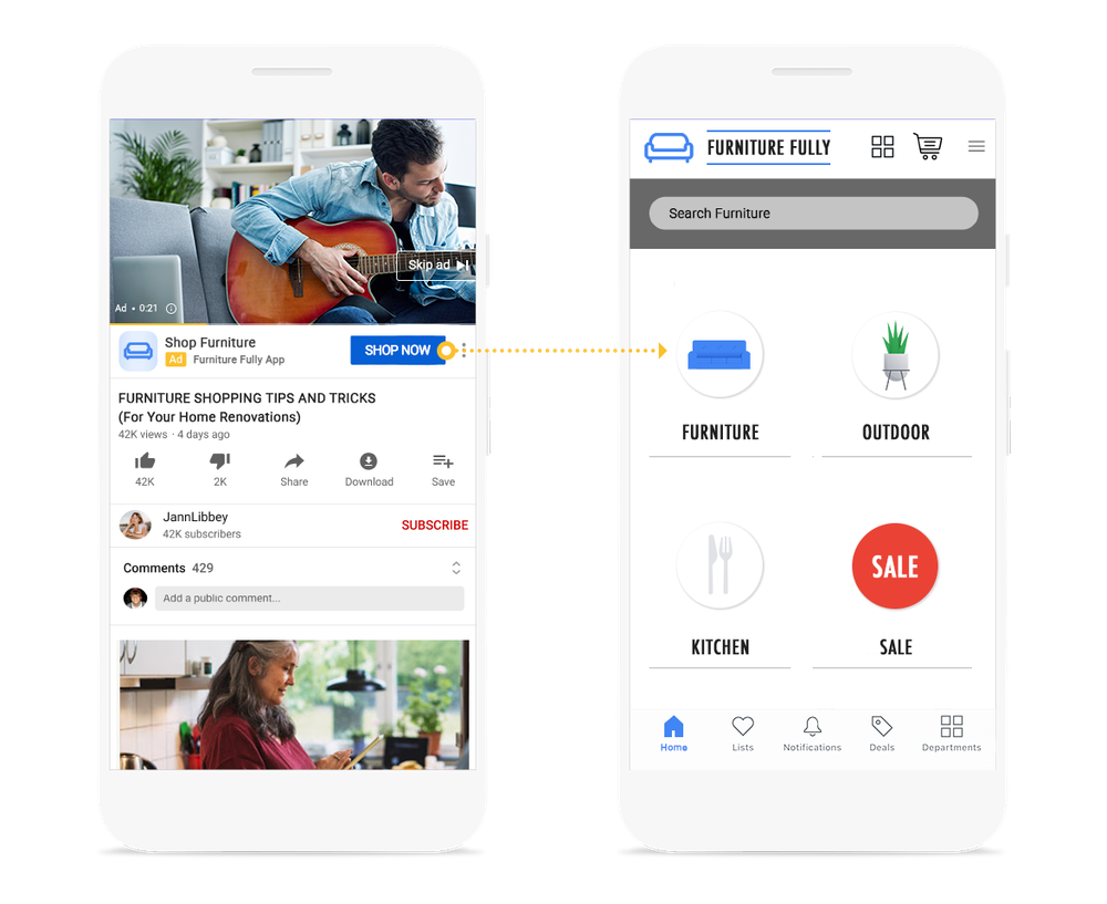 Two phone screens featured, one with an ad and one with the app's home page. Deep linking takes users directly to your app when they click on your ad.