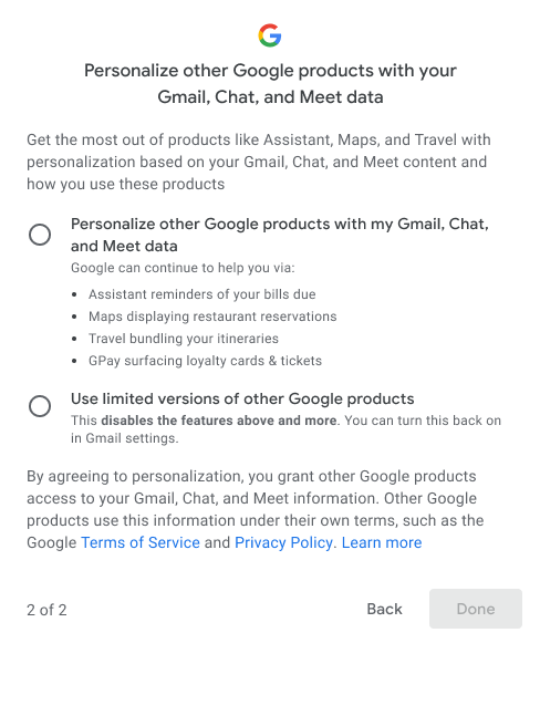 Option to personalize other Google products with Gmail, Chat and Meet data
