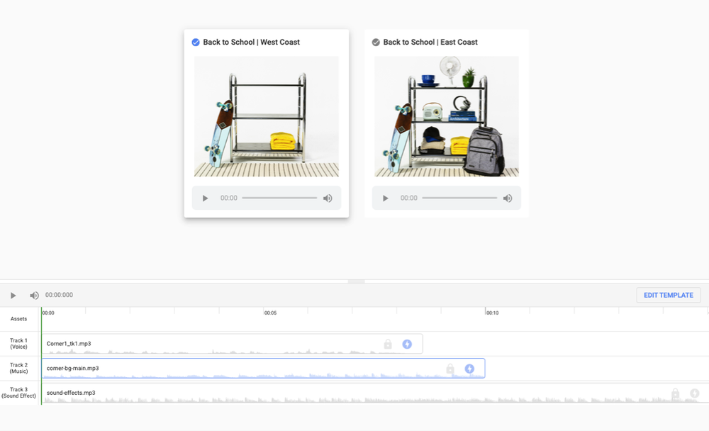 This screen shares what it looks like to create an audio ad, with different lines for editing voice, music and more. There is also an example of two different display creatives that will be used in the campaign.