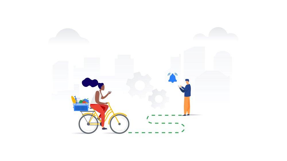 Nonprofit volunteer delivering food by bike
