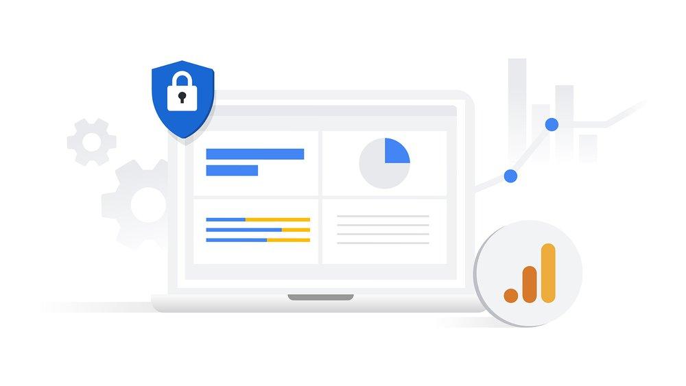 Hero asset: Laptop screen with privacy shield, Google Analytics logo
