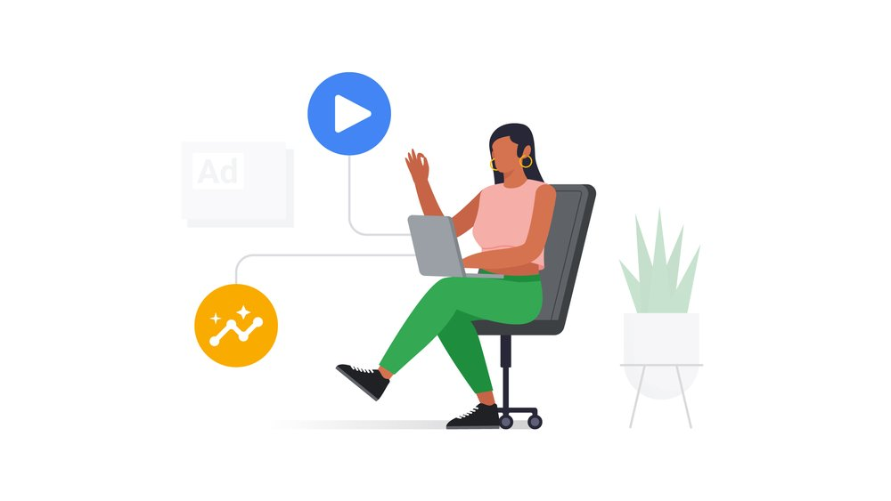 Woman working on laptop on ads