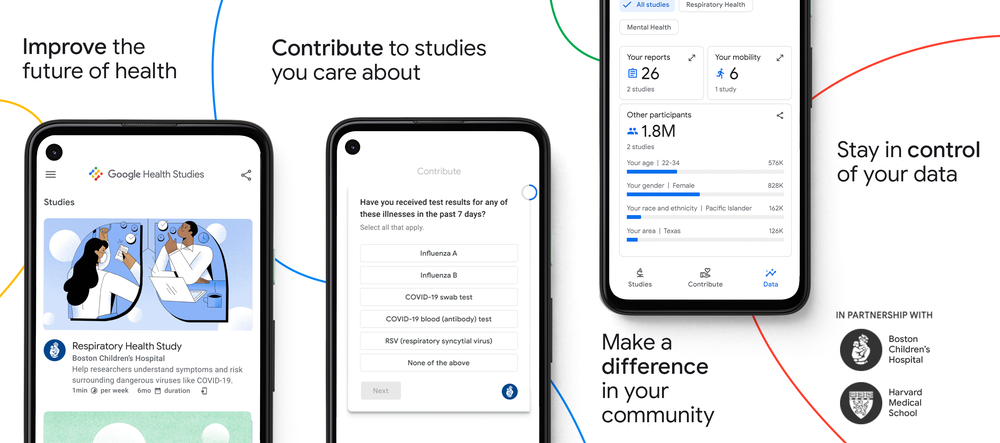 With the Google Health Studies app, you can improve the future of health, contribute to studies you care about, make a difference in your community and stay in control of your data.