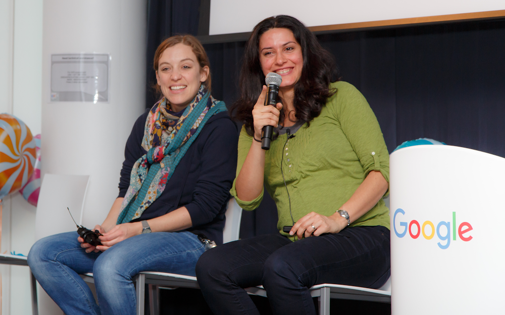Andrea Francke and Tahmineh Sanamrad, Google software engineers, delivering a career panel for high school girls at Google Zürich.