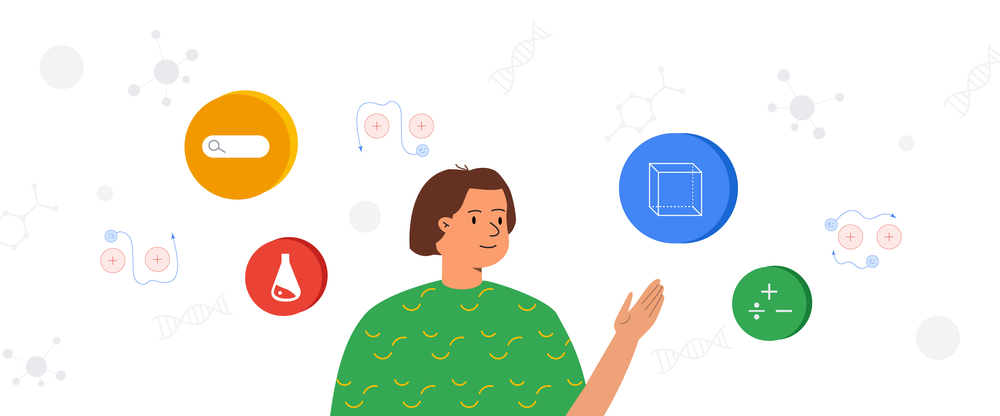 Illustration of a woman in a green shirt with short brown hair surrounded by colorful bubbles with icons related to S.T.E.M. education, like math symbols and a beaker, inside of them.