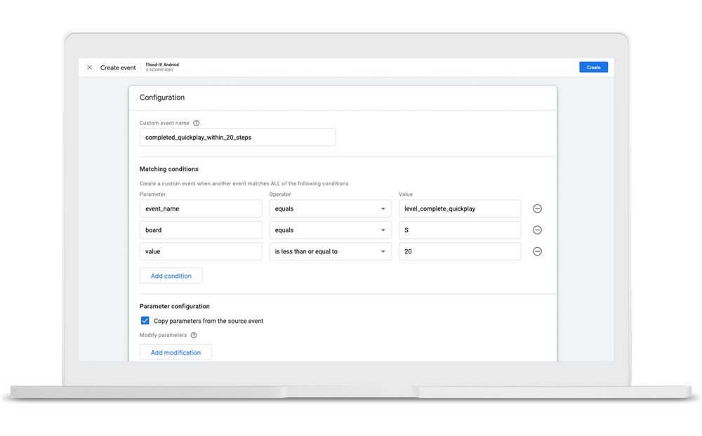 Google Analytics interface where you can make changes to event name or parameters, or create new ones.