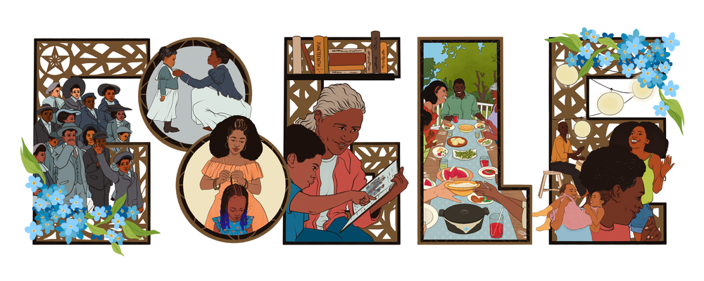Google Doodle with images of parades, music, food and community in decorative ironwork.