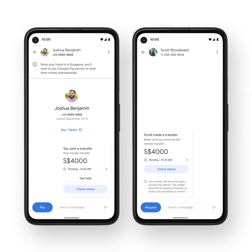 Two phones side-by-side which show the conversation in the Google Pay app between a US Google Pay user who sent money to a Google Pay user in Singapore.
