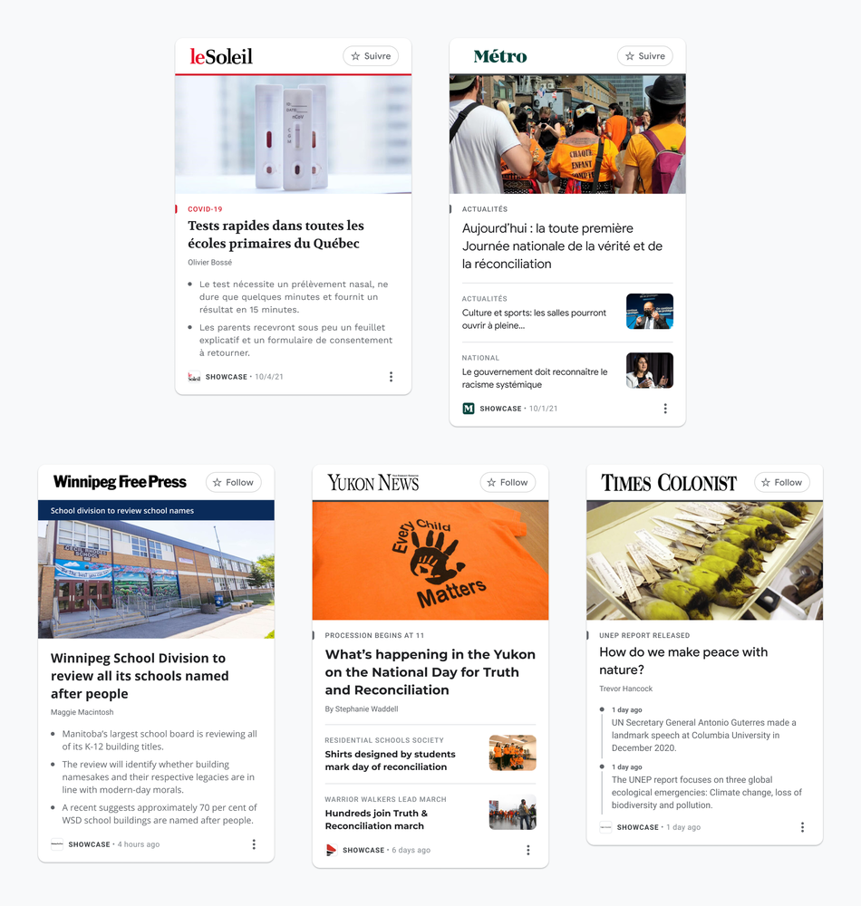 An image showing examples of how different News Showcase panels, including a bulleted list, timeline and rundown, will look for some of our partners in Canada