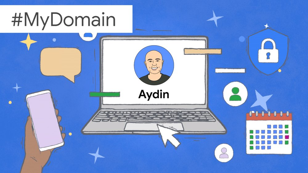 An illustration showing Aydin's face and name on a laptop screen, surrounded by images symbolizing productivity.