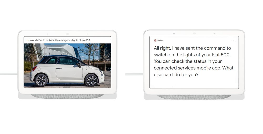 "Image showing a Nest Hub with ""Hey Google, ask my Fiat..."" questions on the screen."