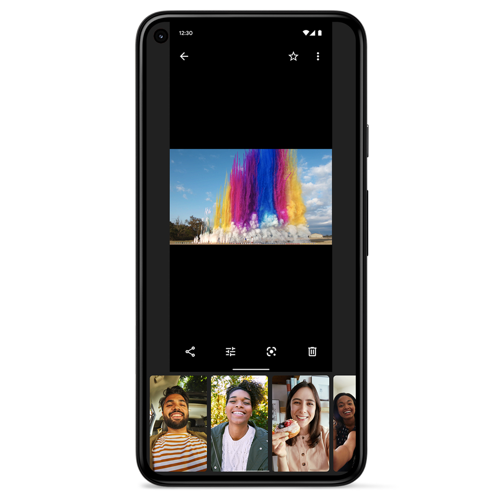 Image showing a Pixel phone with the new Photos Editor on the screen.