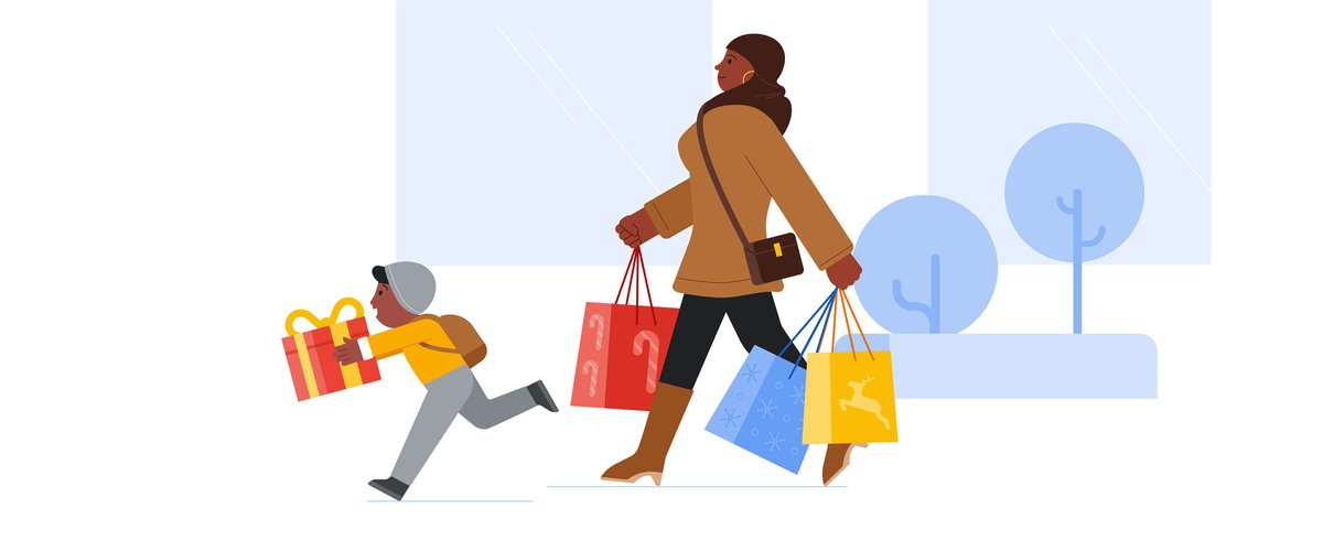 Woman and child shopping