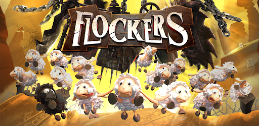 A promotional image from the game Flockers, featuring cartoon sheep.