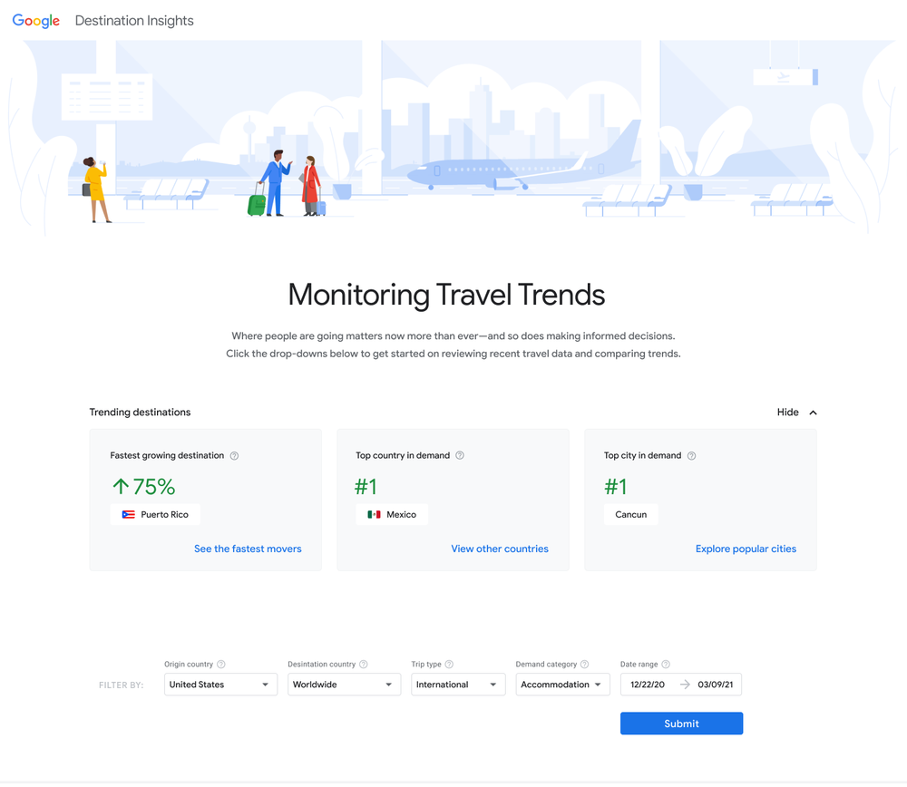 Screenshot of the Focusing Facts tool within Destination Insights, showing trending destinations