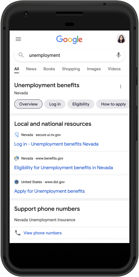 An image of a mobile phone showing unemployment benefit information