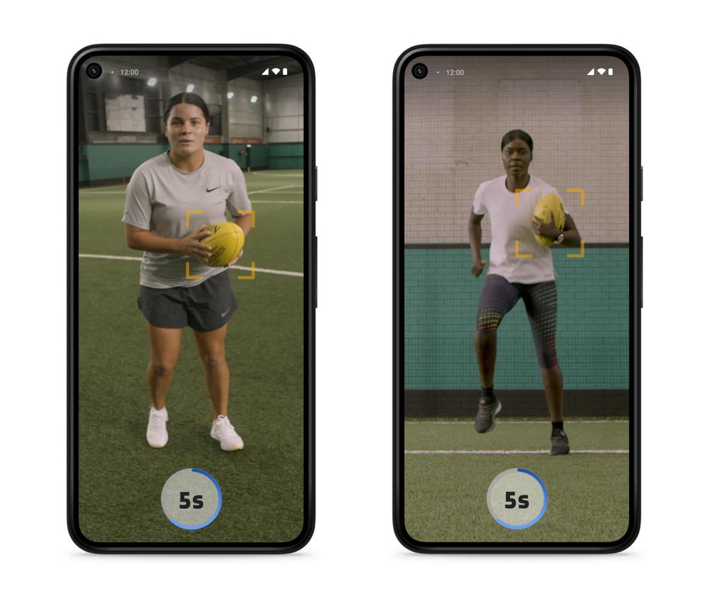 Screenshots showing still images of AFL athletes Madison Prespakis and Akec Makur Chuot providing football training tips.