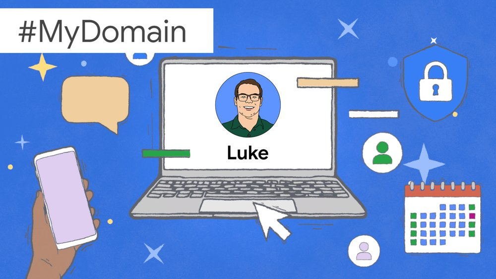An illustration showing Luke's face and name on a laptop screen, surrounded by images symbolizing productivity.