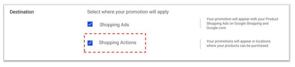 Merchant promotions on Shopping Actions