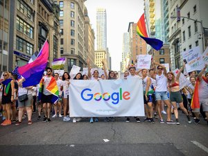 Mistral Myers and fellow Googlers march in a Pride Parade