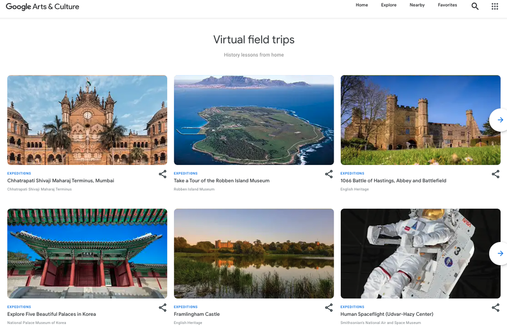 Virtual field trips on Google Arts & Culture