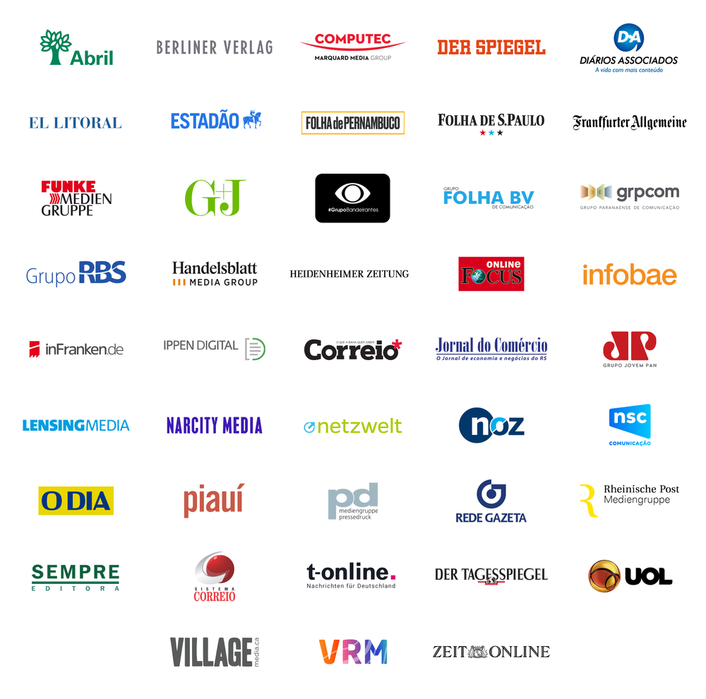 A graphic showing the logos of media companies included in Google News Showcase