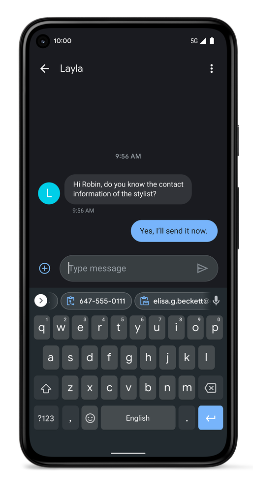 Image showing a Pixel 5 with the messages app open, and a suggested keyboard clip of a recently copied phone number.