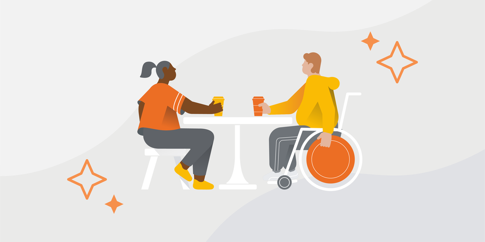An illustration of two people, one in a wheelchair, sitting at a table drinking coffee.