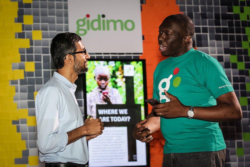 Sundar Pichai and Gidi Mobile's Tunji Adegbesan at Google for Nigeria in 2017