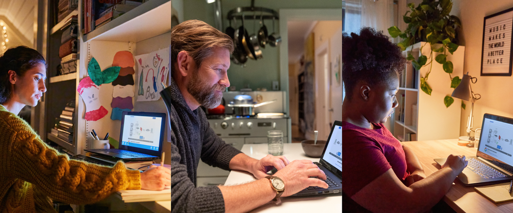 Collage of three photographs of three different people working on their laptops at home