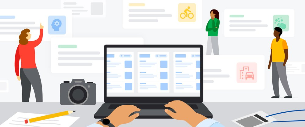 An illustration showing someone using a computer and using Google News Showcase