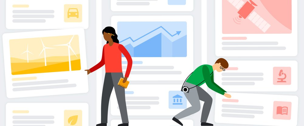 This illustration shows two users looking at News Showcase panels