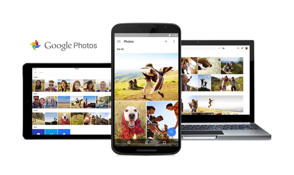 Ansicht Google Fotos aus dem Tablet, Handy und Laptop.
