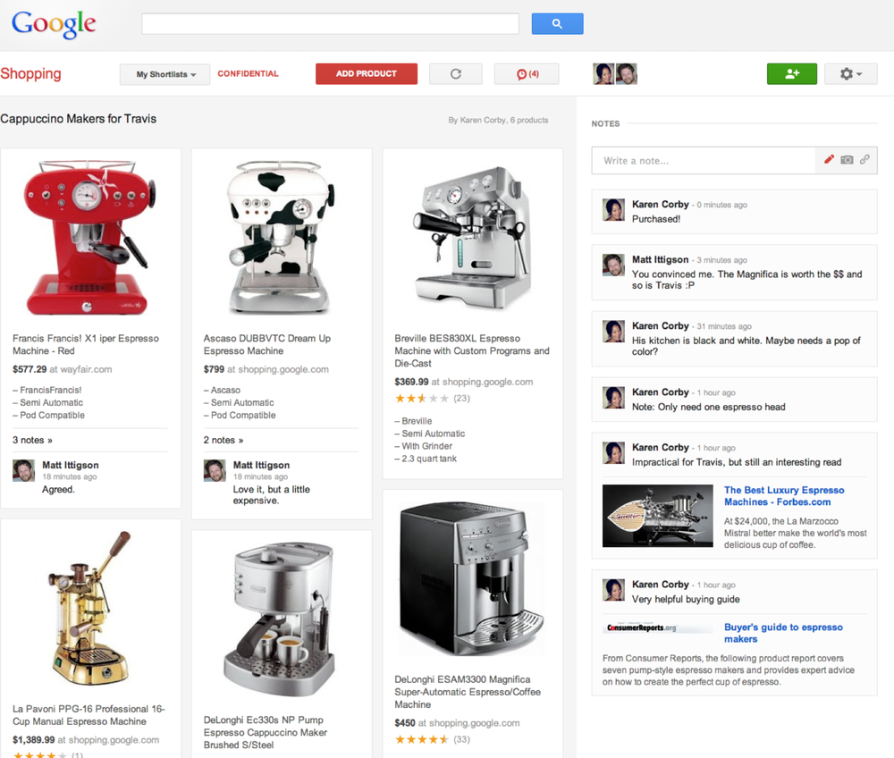 Google Shopping shortlists