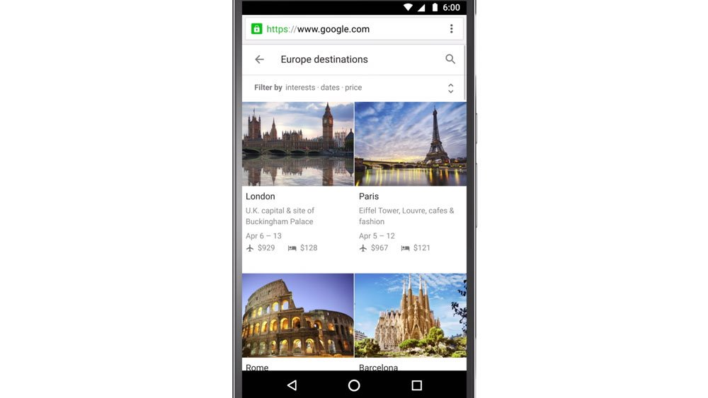 Google Travel on mobile