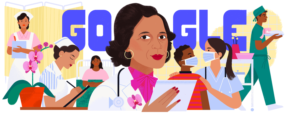 Illustrated Google Doodle featuring Dr. Ildaura Murillo-Rohde and other healthcare workers