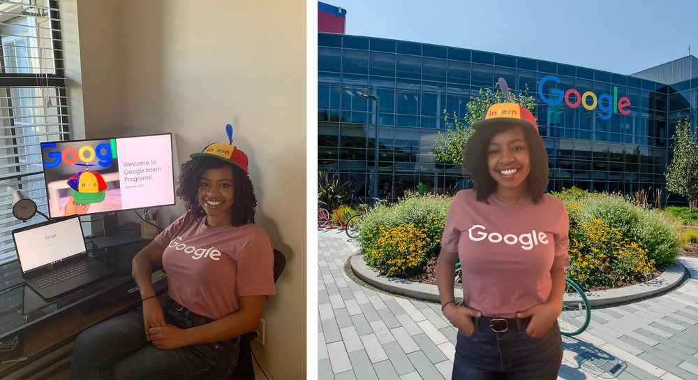 "A photo of Tyler in her home, and an illustration of her ""at"" Google's campus."