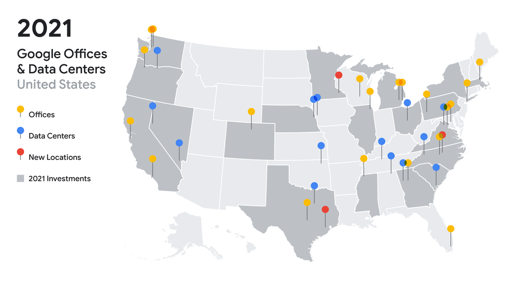 A map with pins showing the locations of Google's data centers and offices. 19 states are shaded to indicate new 2021 investments.