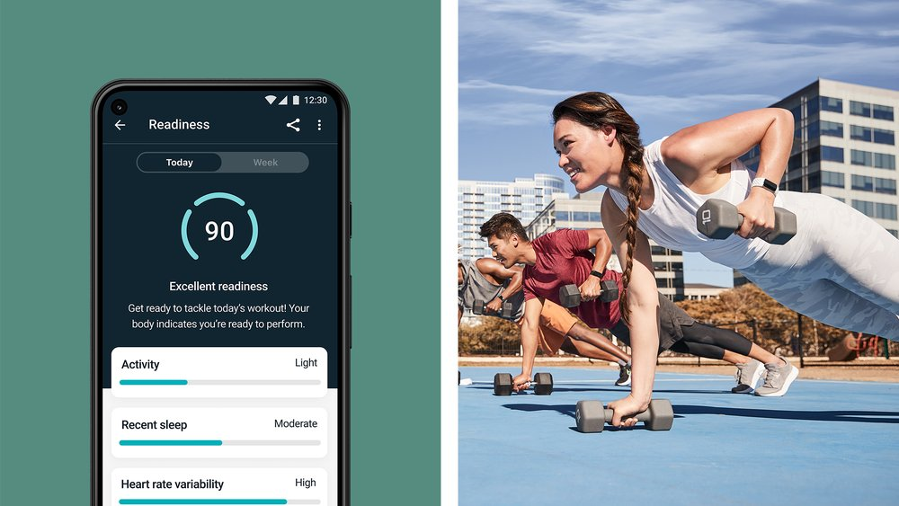 """Fitbit Premium's Daily Readiness app experience, showcasing what you may see with a High Readiness Score to guide you to action for an """"All Out"""" day."""