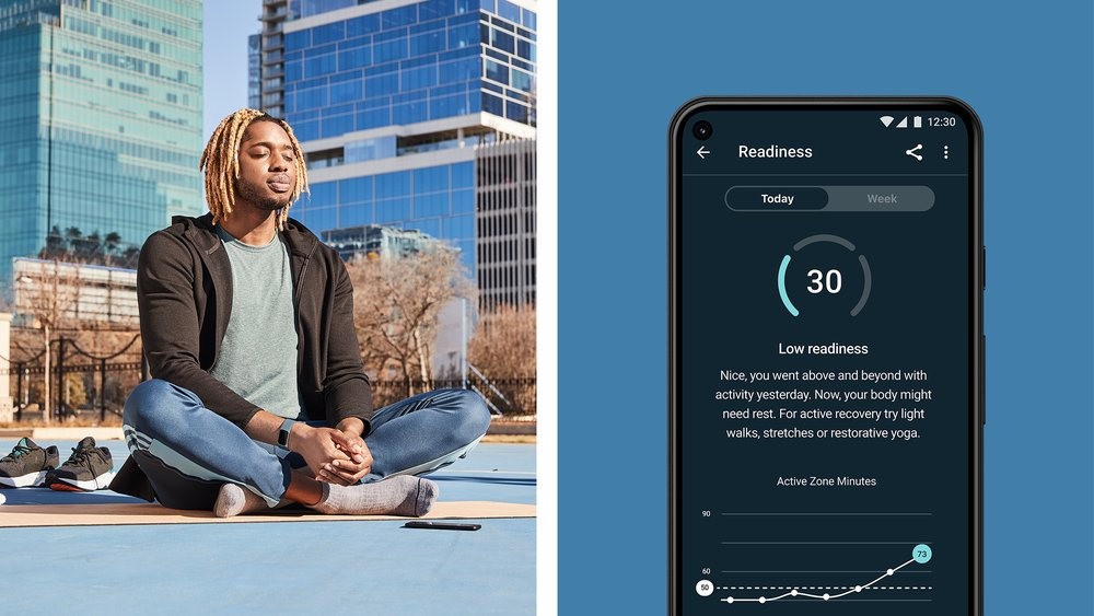 Demonstration of a low readiness score in Fitbit Premium's Daily Readiness app experience. You may see a low score due to your activity, sleep or HRV, and will receive guidance on how to recover on low score days.