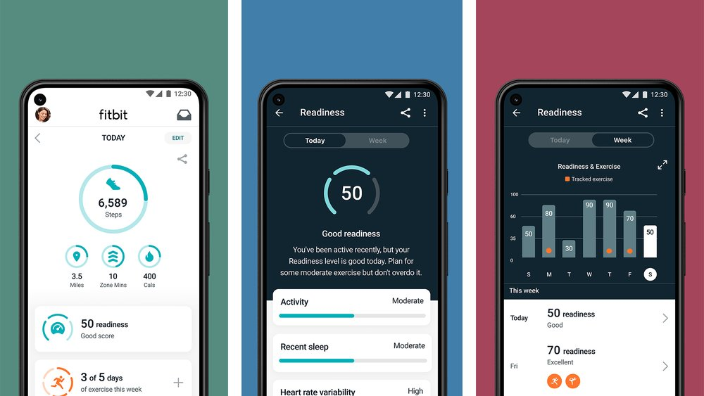 Fitbit Premium's Daily Readiness app experience showcasing what users will see in their Today screen, on a good readiness day and a week-over-week view.