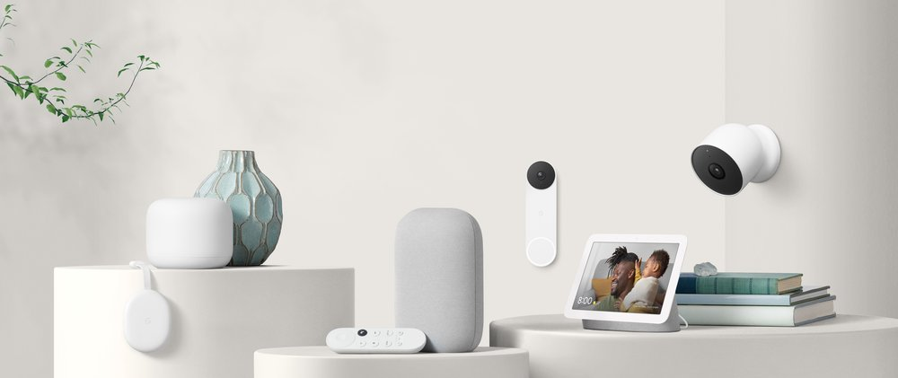 Image showing various Nest and Google Home products on different table tops and mounted to the wall.