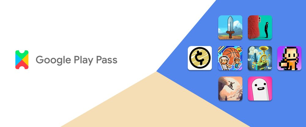 Google Play Pass logo next to images of several games