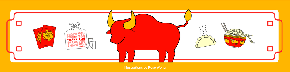 An illustration of an ox, red envelopes and Chinese food to illustrate Lunar New Year.