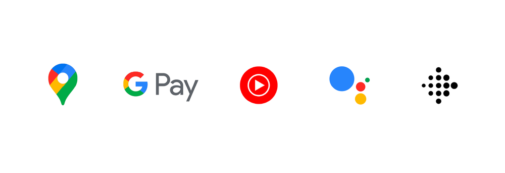 Logos for Google Maps, Google Pay, YouTube Music, Google Assistant and Fitbit.