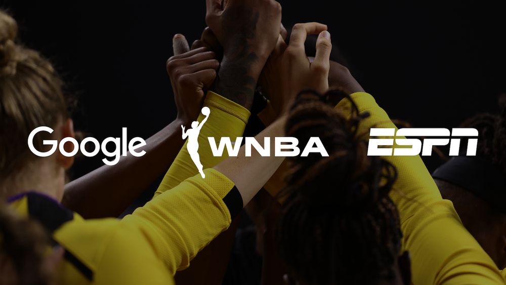 Logos for Google, WNBA, and ESPN over top of a picture of female athletes joining hands up top