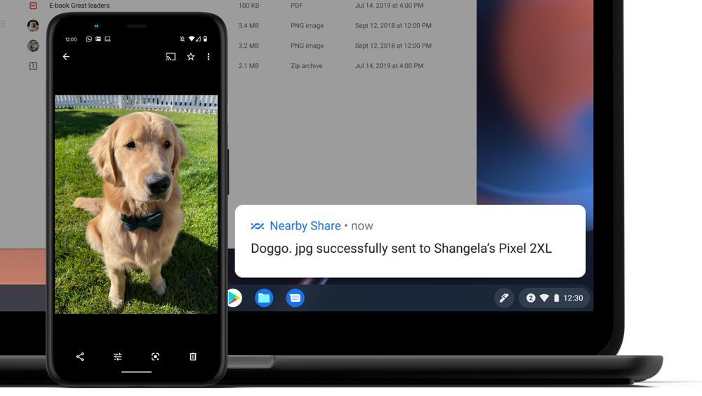 """Bild, das die Funktion """"Nearby Share"""" auf einem Chromebook anzeigt"""