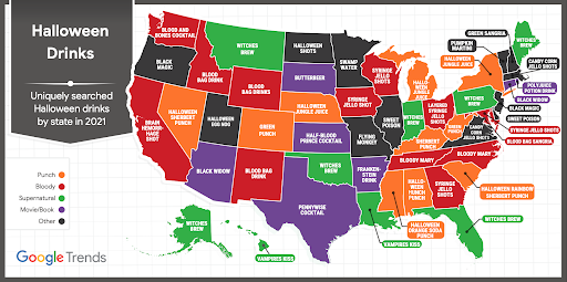 Map of the United States showing what the uniquely searched Halloween drinks trends are per state.