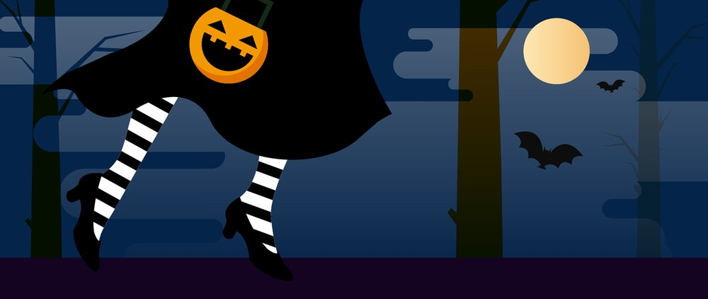 Cartoon image of a witch trick or treating, with a full moon and bats in the background.