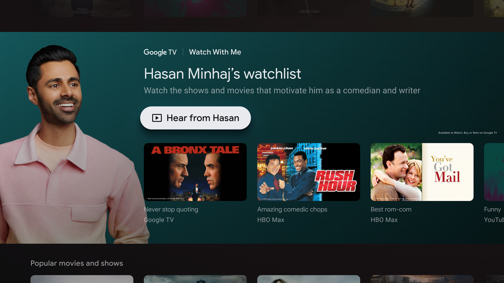 Google TV showing Watch With Me page with Hasan Minhaj's watchlist.